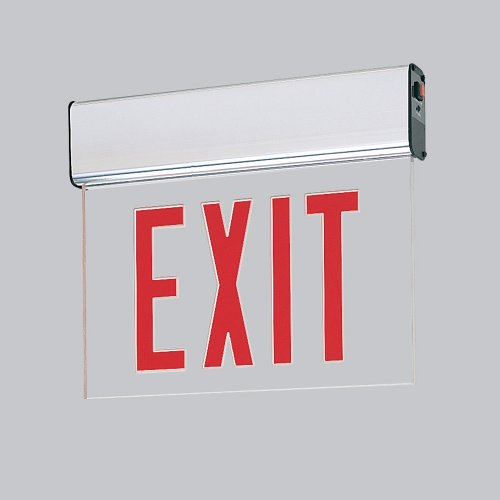 Edge-Lit Led Exit Sign- Battery Backup, Red Letters