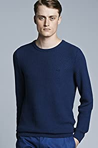 Textured Garment Dyed Crew Neck Cotton Sweater