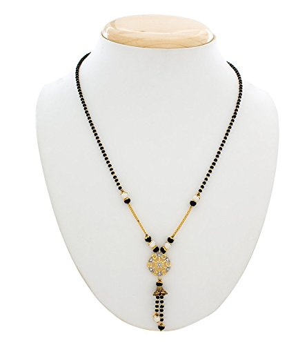 Gold & Black Pearl Studded Mangalsutra Necklace For Women-Life Keep Teaching