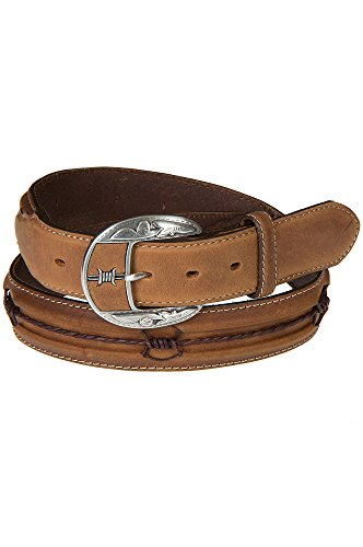 Fenced In Barbed Wire Leather Belt, AGED BARK, Size 32 (Justin Western Belts compare prices)
