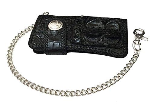D'SHARK Luxury Biker Crocodile Skin Leather Bi-fold Snap Wallet (Black) 1