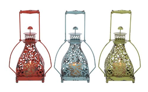 Plutus Brands 3 Assorted Metal Candle Holder with Vibrant Colors