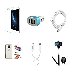 High Quality Combo of LeTV 1s Temper Glass + Car Charger 3 USB + Type C Data Cable + Attractive Back Cover (Transparent Back with Golden Border) + Car Anti Slip Mat