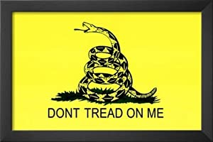 Professionally Framed Gadsden Flag (Don't Tread On Me) Tea Party Historical Poster - 11x17 with Solid Black Wood Frame