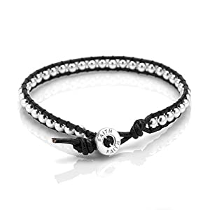 "925 Sterling Silver Beads ""Faith"" Single wrap Genuine Black Leather Cord Silver Button Closure 7.5''"