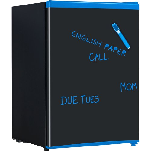 Energy Star 2.6 Cu. Ft. Compact Refrigerator with Wipe-Off Board Front - Black with Blue Trim