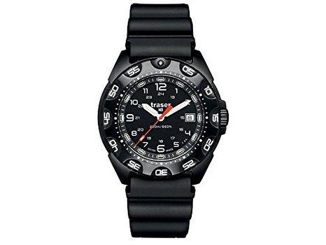 Traser 105477 Men's Tornado Pro steel Black Resin Bracelet Band Black Dial Watch