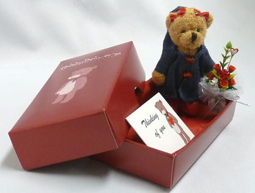 Sweet Sue Teddy Bear Gift Package with a Flower Bouquet and 1 Free Gift Card (Thinking of You) - Teddy Delivery
