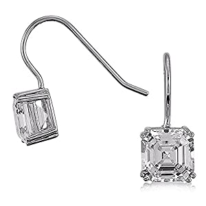 BERRICLE Sterling Silver Asscher Cubic Zirconia CZ Solitaire Wedding Fashion Fish Hook Earrings
