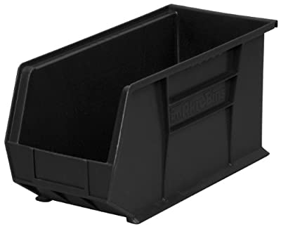 Akro-Mils 30265 Plastic Storage Stacking Hanging Akro Bin, 18-Inch by 8-Inch by 9-Inch, Black, Case of 6