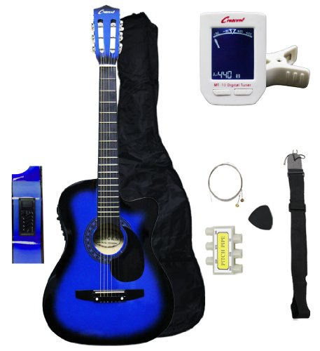 Crescent 38″ Inch Blue Acoustic Electric Guitar Starter Kit Cutaway Style (Gig Bag, Extra Strings, Pick, Crescent Digital E-tuner Included)
