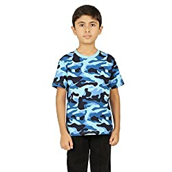 Clifton Boys Army T-Shirts Half Sleeve R-Neck -Light Blue -L