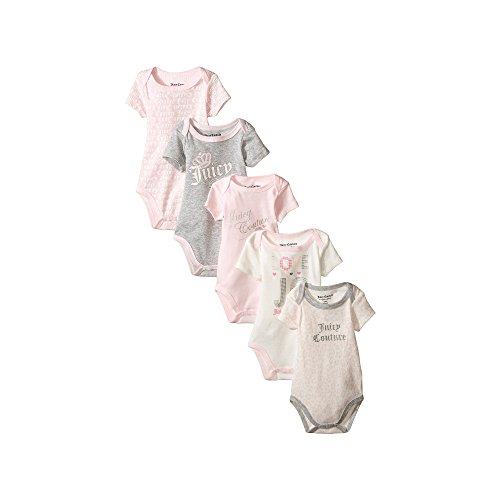 Juicy Couture Baby-Girls Newborn 5 Pack Bodysuits Light Group, Multi, 0/3 Months