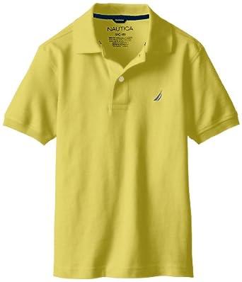 Nautica Big Boys' Short Sleeve Solid Polo, Yellow, Small