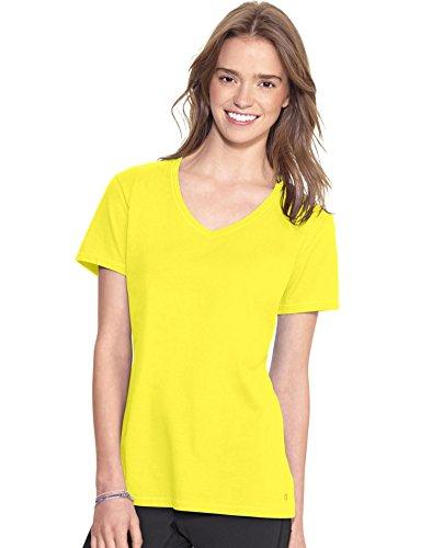 Champion Women's Jersey V-neck Tee, Naples Yellow, Small