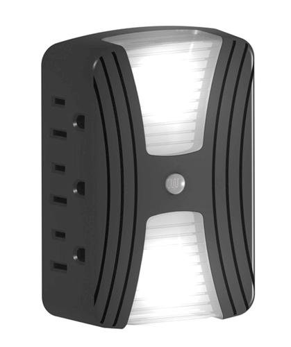 Automatic LED Lighted Outlet, Turns 1 3 Prong Outlet into 5 3 Prong Taps. Light Sensor, Bright LED
