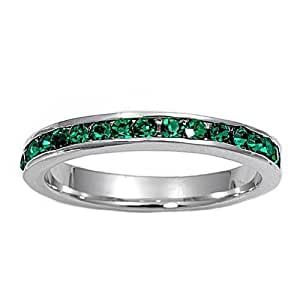 Amazon.com: Size 4 Dk Green Eternity Ring-Silver Color imitation May