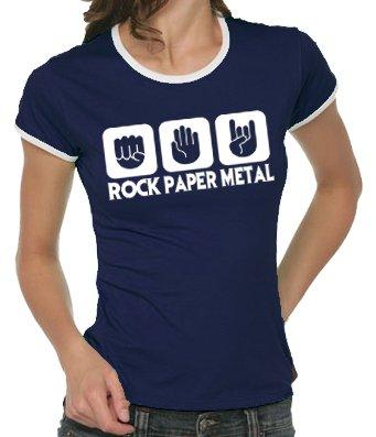 Touchlines Damen Kontrast T-Shirt Stein Papier Rock Heavy Metal Girlie Ringer