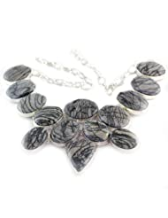 925 Silver Black Miscellaneous Stone Necklace For Women US326
