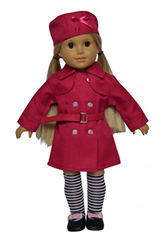 "Glamerup: London 4-Pc Doll Clothes Set (Jacket, Hat, Belt & Knee-High Socks) For Most 18"" Dolls"