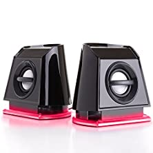 buy Gogroove Basspulse 2Mx 2.0 Usb Multimedia Computer Speakers With Red Led Lights , Dual Drivers & Passive Subwoofer - Works With Pc , Apple Mac , Dell & More Computers