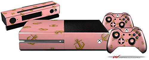 Anchors Away Pink - Holiday Bundle Decal Style Skin Set fits XBOX One Console, Kinect and 2 Controllers (XBOX SYSTEM SOLD SEPARATELY)