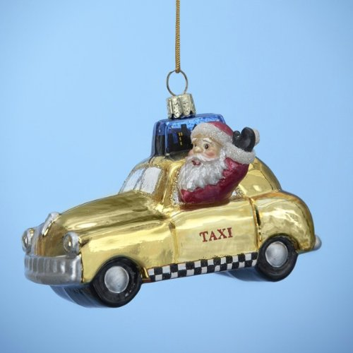 Kurt Adler 3-3/4-Inch Glass New York Taxi Ornament
