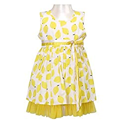 Soul Fairy Girls' Dress (SFLMNDRS02_Yellow_5-6 Years)