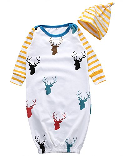 Newborn Baby Girl Deer Romper Bodysuit Jumpsuti Sleeping Pajama Hat Outfits (S/ 0-6 Months)