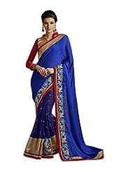 Elegant Blue Chiffon Saree With Blouse.