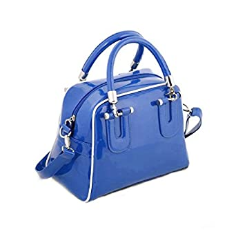 Hoxis Stylish Solid Color Patent Faux Leather Gym Handbag Womens Shoulder Bag