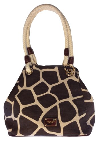 Michael Kors Marina Grab Bag Giraffe Brown Canvas