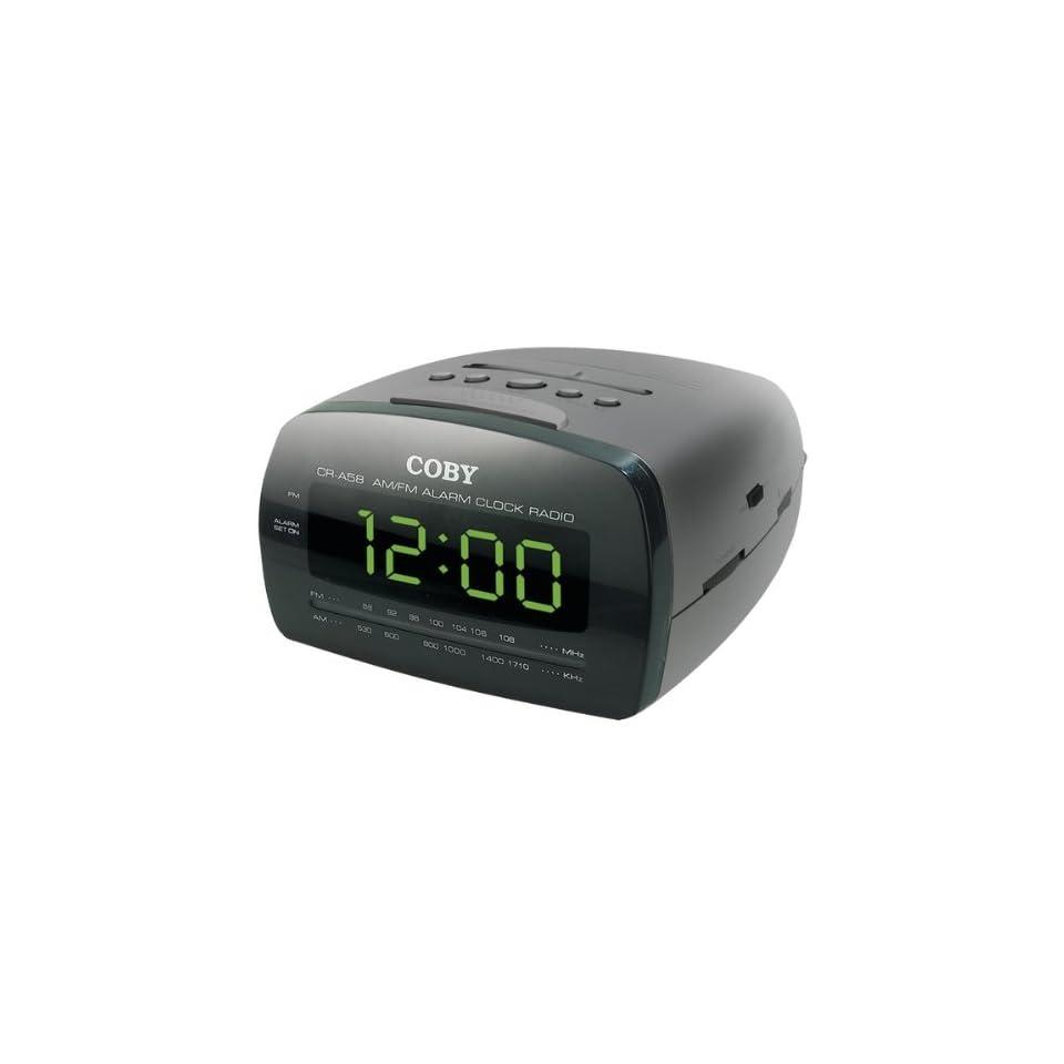 AWM Coby Cra58Blk Digital Am/Fm Alarm Clock Radio With Large Led Display   Clock Radios