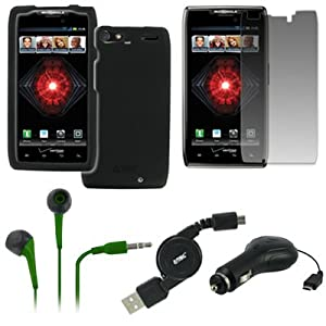 EMPIRE Motorola DROID RAZR MAXX XT912 Rubberized Case Cover (Black) + 3.5mm Stereo Earbud Headphones (Neon Green) + Screen Protector + Retractable Car Charger + Retractable USB 2.0 Data Cable [EMPIRE Packaging]