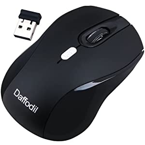 Daffodil WMS335B Wireless Optical Mouse 2.4GHz - Cordless 3 Button PC Mouse with Scrollwheel and Adjustable Sensitivity (MAX DPI: 2000) - For Laptop / Netbook / Desktop Computers - Supported by: Microsoft Windows (8 / 7 / XP / Vista) and Apple MAC (OS X +) - Battery Powered (1xAA Inc.)