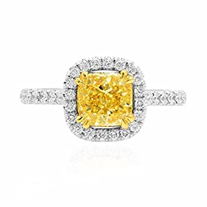 2.78Cts Yellow Diamond Engagement Halo Ring Set in Platinum GIA Certified