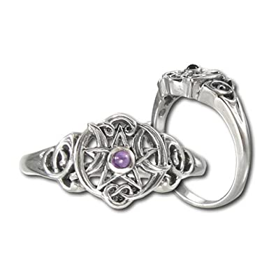 Sterling Silver Heart Pentacle Pentagram Wiccan Ring Amethyst (sz 5-12)