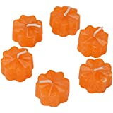 Star Light Candles Wax Tealight (3 Cm X 3 Cm X 0.5 Cm, Orange, Set Of 10, SL-38)