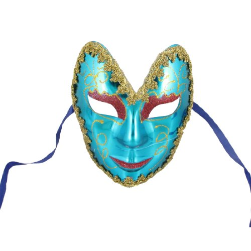 Como Plastic Fancy Ball Glittery Red Powder Tinsel Decor Turquoise Full Face Masquerade Mask