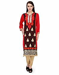 BPT Red & Black Faux Georgette Embrodered Kurta(XXL/44 Chest)