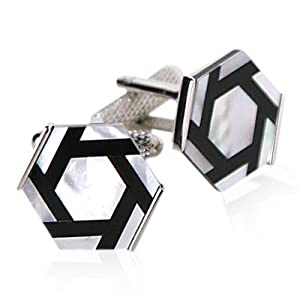 Onyx and Mother of Pearl Hexagonal Cufflinks Set silver-tone by Cuff-Daddy