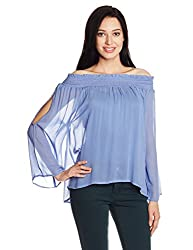 Chemistry Women's Body Blouse Top (C16-134WTTOP_Mid Blue_Small)