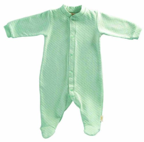 Baby's Store |   Tadpoles Organic Double Knit Cotton Footed Snap Front Romper, Sage, 0-3 Months :  front knit sage footed