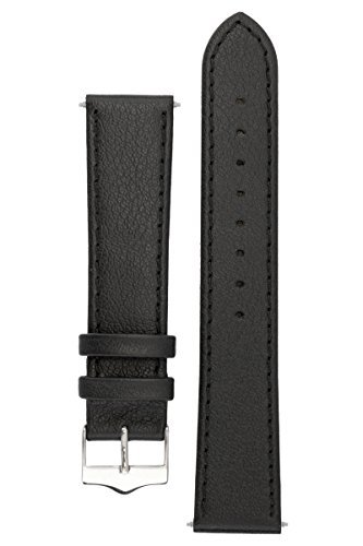 Signature Seasons in black 20 mm extra-long watch band. Replacement watch strap. Genuine leather. Silver Buckle (Ladies Extra Long Watches compare prices)