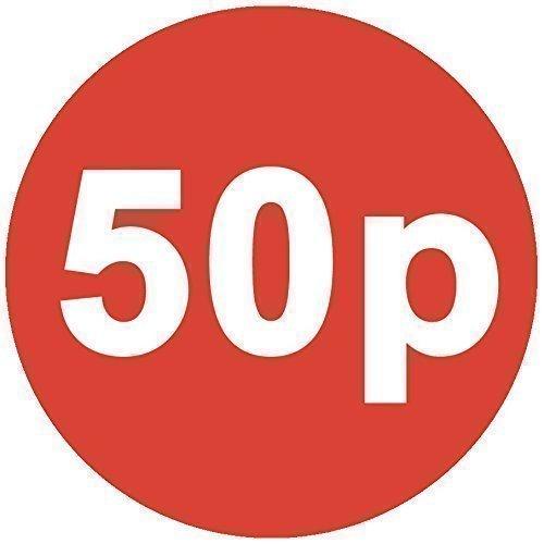 Audioprint Ltd. Autocollants Prix '50p' Lot de 200 30mm Rouge