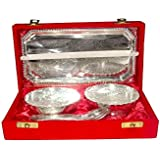 King International Silver Plated Indian Handcrafted Brass Bowl Serving Set With Velvet Gift Box, Diwali Gifting...