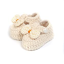Baby Oodles White Crochet Art Baby Booties With Bow
