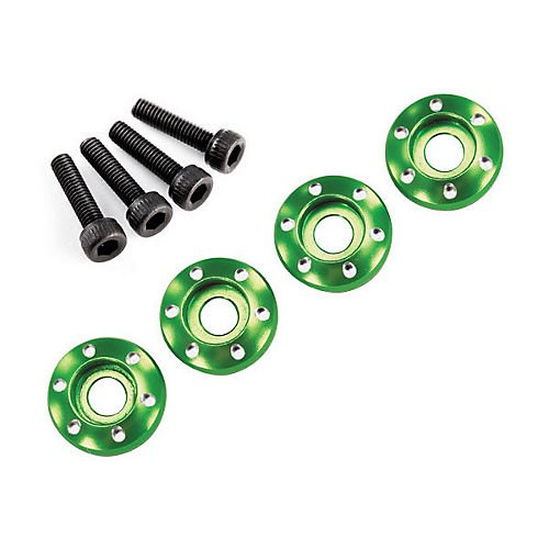 Traxxas 4 Machined Aluminum Wheel Nut Washer, 3 x 12mm, Green