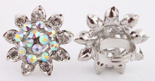 Ladies Silver with Clear Iced Out Sun Flower Shape Metal Adjustable Finger Ring