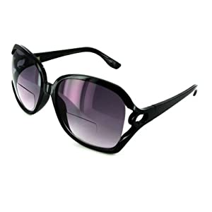 RODEO DRIVE fashion designer Bifocal Sunglass Readers, Black w/ Smoke Lens – +1.75